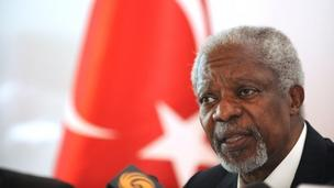Kofi Annan speaks on his peace plan for Syria at news conference in Turkey - 10 April 2012