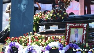 Photographs of Steven Kanumba at his funeral in Dar es Salaam, 10 April 2012