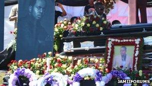 Photographs of Steven Kanumba at his funeral in Dar es Salaam, 10 April 2012