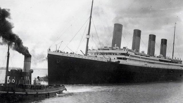 Titanic setting sail from Southampton