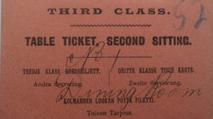 Restaurant card from the Titanic