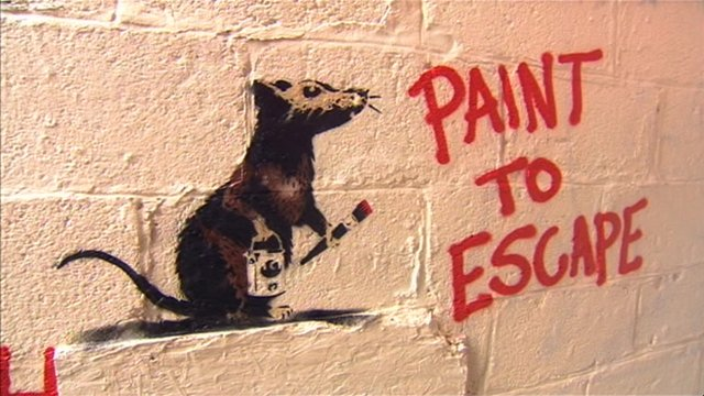 Banksy-style graffiti in Taunton