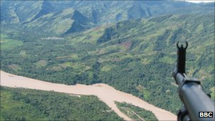 View from helicopter flying over the Ene-Apurimac valley