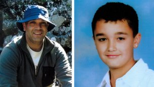 Derek Sarkar, 46, and his son Ethan, 14