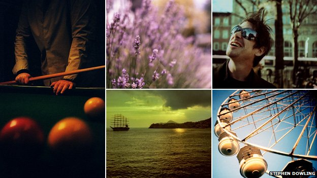 (Clockwise) Man playing pool, lavender, man in sunglasses, ferris wheel, a ship floating on the sea
