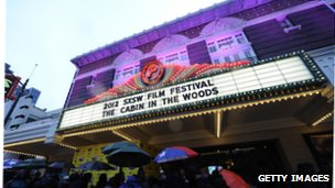 Paramount Theatre during premiere of The Cabin in the Woods in Austin, Texas