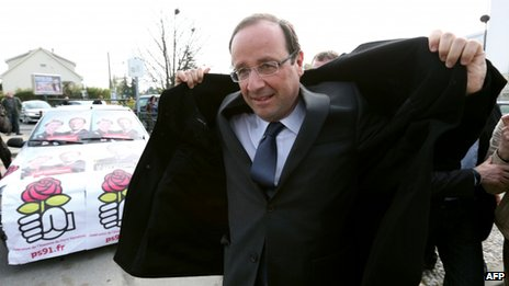 Francois Hollande on campaign visit on 7 April 2012 in Les Ulis, outside Paris
