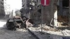 Pictures purportedly showing damage caused by clashes in Jourat al-Shaya, Homs province (10 April 2012)
