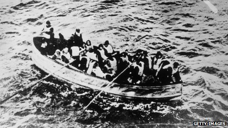 Survivors of the Titanic disaster in a lifeboat. Photo: General Photographic Agency/Getty Images