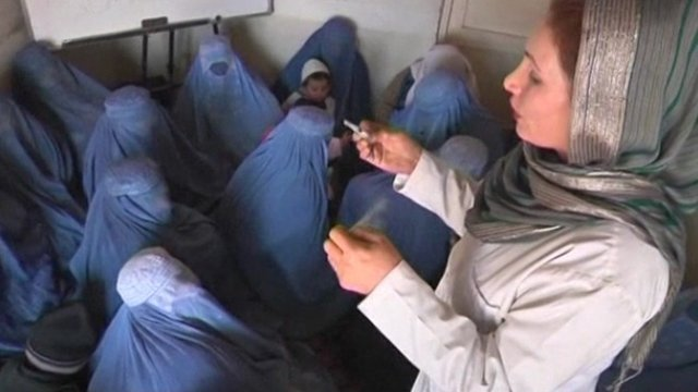 Afghan women at a rehabilitation centre in Kabul.