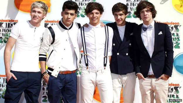 One Direction posing in Los Angeles