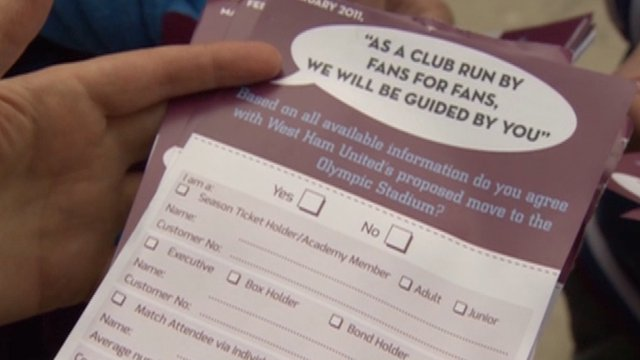 Poll leaflet for West Ham United FC fans