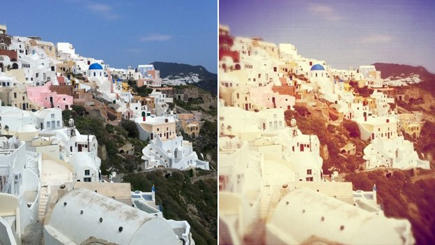Untreated and treated images of Santorini