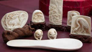 Carved ivory ornaments