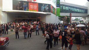 Crowds outside shopping mall, Penang. Photo: Dennis Ng Kah Wai.