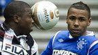 St Mirren's Nigel Hasselbaink and Rangers' Kyle Bartley during a recent Scottish Premier League match