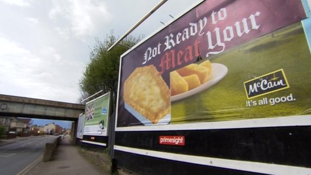 Coffin-shaped pie advert, Gloucester