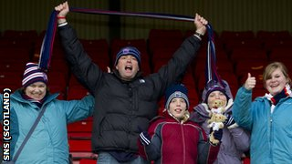 Ross County fans celebrating