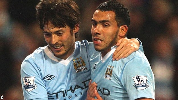 David Silva (left) and Carlos Tevez (right)