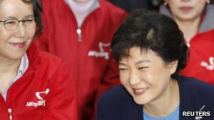 Park Geun-hye , interim leader of the ruling Saenuri Party, and party members in Seoul 11 April, 2012