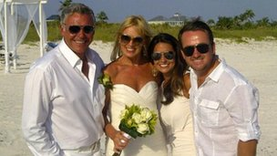 The newlyweds with Graeme McDowell and his girlfriend