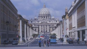 A view of the Vatican and St Peters in Rome