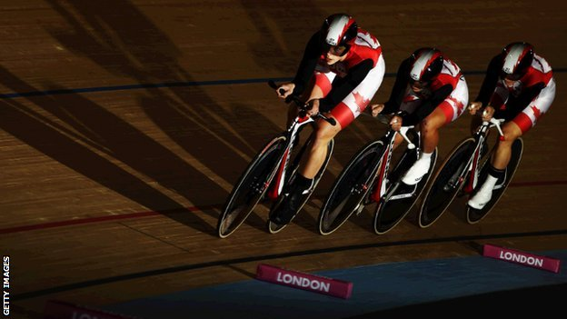 Canadian track cycling team at London World Cup
