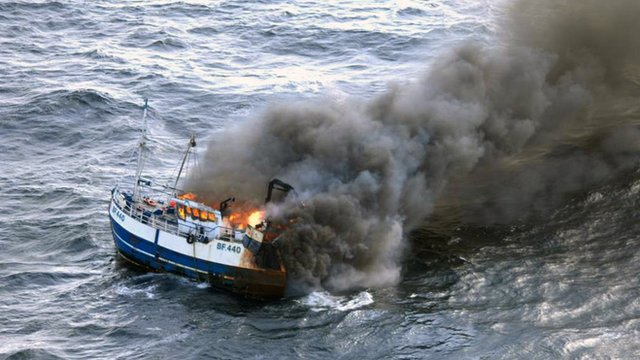 Fire on the &#039;Onward&#039; fishing boat 
