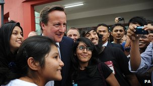 Prime Minister David Cameron meets students at the University of Nottingham, Malaysian Campus in Kuala Lumpur