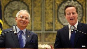 David Cameron and Malaysian Prime Minister Najib Tun Razak