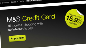 Screen grab of M&S money website