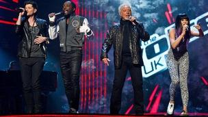 Danny O'Donoghue, will.i.am, Tom Jones and Jessie J perform together on BBC's The Voice