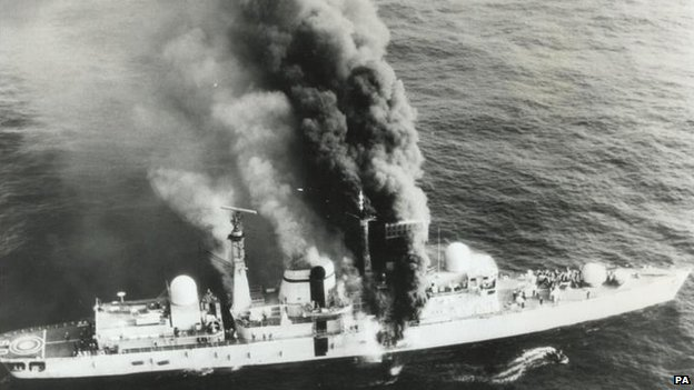 HMS Sheffield on fire