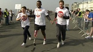 Ben McBean running the Sport Relief mile in Plymouth