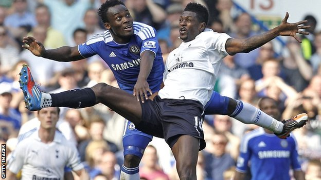 Michael Essien and Emmanuel Adebayor