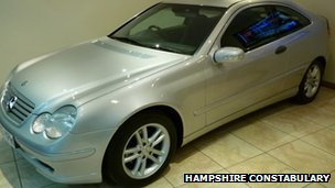 Police pictures of silver two-door Mercedes C200 CDI 