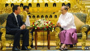 Prime Minister David Cameron and Burma President Thein Sein