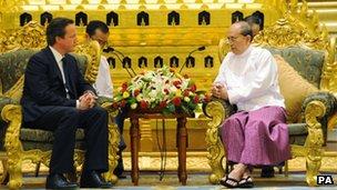 Prime Minister David Cameron and Burma President Thein Sein