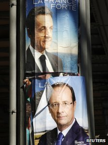 Campaign posters of Nicolas Sarkozy and Francois Hollande (Bottom)