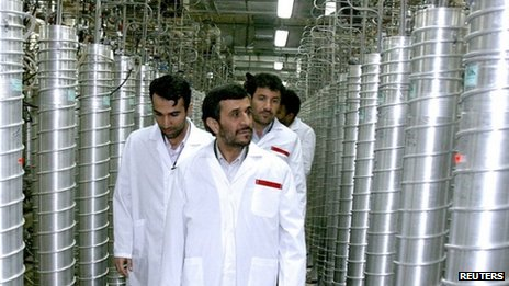 Iranian President Mahmoud Ahmadinejad visiting the Natanz uranium enrichment facilities south of capital Tehran (2008)