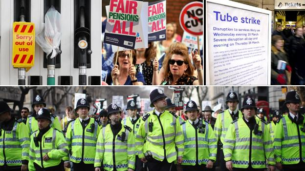 Petrol forecourt, public sector strike, London underground strike, police.