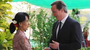 Aung San Suu Kyi and David Cameron