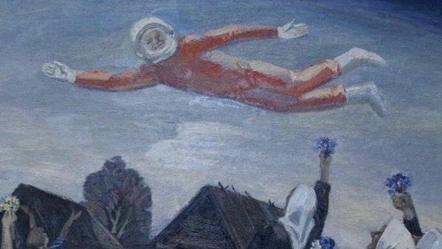 A fresco of Gagarin