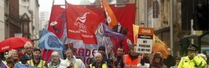 Public sector workers on strike