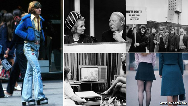 Composite image: From right to left - Man on the Kings Road, 1973, Margaret Thatcher and Edward Heath, miner's strike, mini and maxi-skirted women in 1970, and women watching television in 1970