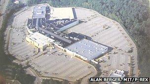 Aerial shot of a shopping mall parking lot in Marlborough, Massachusetts