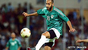 Saadi Gaddafi playing for Libya against Argentina in 2003