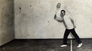 Frederick Wright plays squash on board