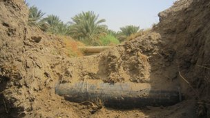 An oil pipeline in Hilla, Iraq