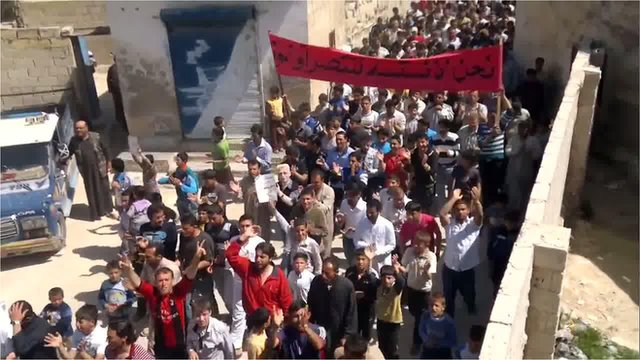 Anti-regime protesters in Syria